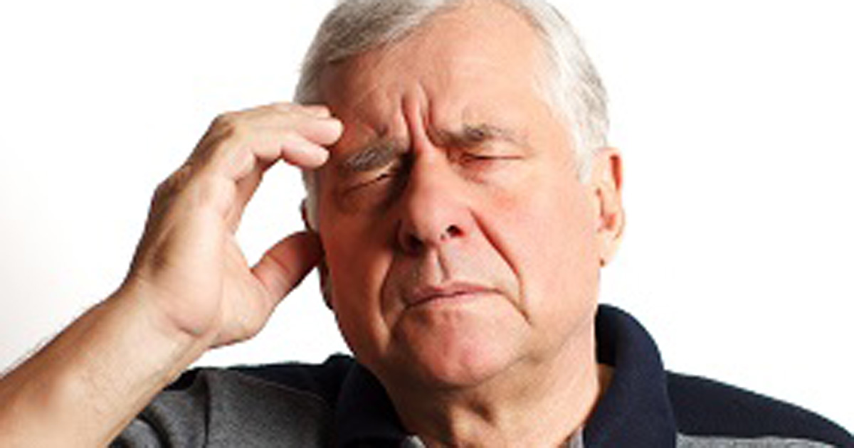 old man with head pain