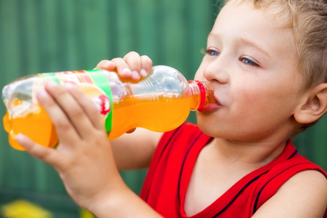 Child drinking from a bottle